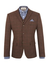 Racing Green Morris Checked Blazer Brown