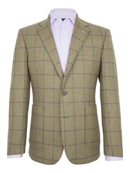 Paul Costelloe Men's Harp Twill Windowpane Check Blazer Green