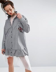 The Ragged Priest Shirt Dress In Gingham With Patch Black