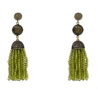 Latelita London Tassel Ball Earring Peridot Gold Green