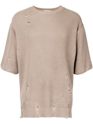 Monkey Time Distressed Half Sleeve Sweater Men Cotton S Brown