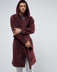 Asos Fleece Hooded Dressing Gown Oxblood Red