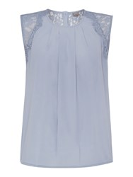 Y.A.S Sleeveless Pleat Front Lace Detail Top Slate Blue