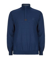 Paul And Shark Suede Trim Zip Neck Sweater Male