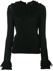 Ermanno Scervino Ruffle Trim Sweater Women Spandex Elastane Viscose 44 Black