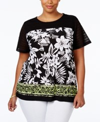 Alfred Dunner Plus Size Printed Blouse Black