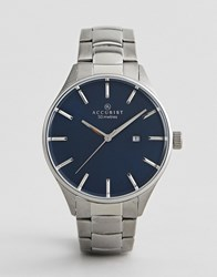 Accurist Silver Watch With Blue Dial