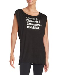 Betsey Johnson Rock And Roll Tank Black