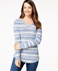 Styleandco. Style And Co. Petite Striped V Neck Sweater Only At Macy's