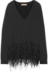 Michael Kors Collection Feather Trimmed Cashmere Sweater Charcoal