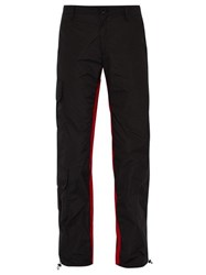 Wales Bonner Striped Cargo Trousers Black Red