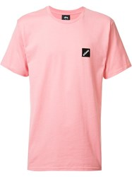 Stussy Square Embroidery T Shirt Pink Purple
