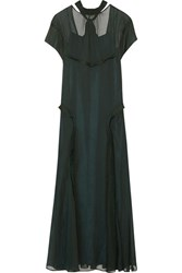 Cedric Charlier Open Back Ruffle Trimmed Chiffon Maxi Dress Emerald