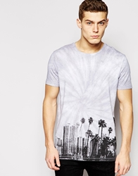 Asos T Shirt With Tie Dye Hem Print And Skater Fit Grey