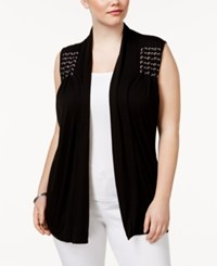 Belldini Plus Size Braided Vest Black