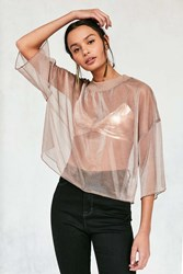 Without Walls Bryn Iridescent Mesh Cropped Tee Pink