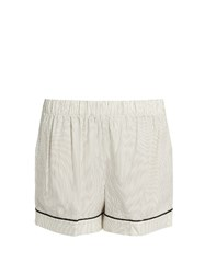 Morpho Luna Thea Pinstriped Silk Satin Pyjama Shorts White Multi
