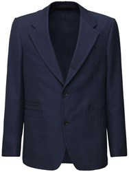 Salvatore Ferragamo Wool And Cotton Single Breast Jacket Navy