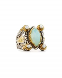 Konstantino Amphitrite Marquise Agate And Pearl Statement Ring Blue