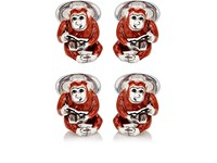 Jan Leslie Men's Monkey With Glasses Cufflinks Red