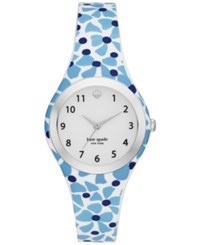 Kate Spade New York Women's Rumsey White Blue And Navy Silicone Strap Watch 30Mm Ksw1087 Silver