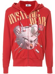 Hysteric Glamour Bear Logo Hooded Sweatshirt Cotton Red