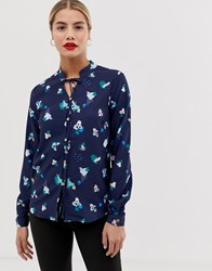 Yumi Floral Print Blouse With Pussy Bow Detail Navy