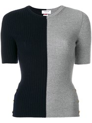 Thom Browne Striped Bicolor Rib Stitch Merino Tee Grey