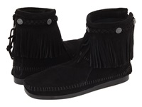 Minnetonka Hi Top Back Zip Boot Black Suede Women's Zip Boots
