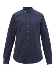 Schnayderman's Garment Dyed Button Down Collar Cotton Twill Shirt Blue