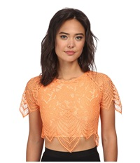 For Love And Lemons Luma Crop Top Tropical Orange Women's Clothing Black