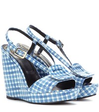 Roger Vivier Chips Printed Embossed Leather Wedge Sandals Blue
