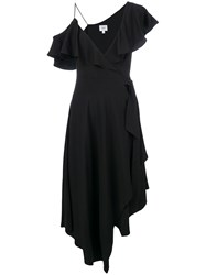 Jovonna Asymmetric Stara Wrap Dress Black