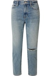Current Elliott The Vintage Cropped Distressed High Rise Slim Leg Jeans Indigo