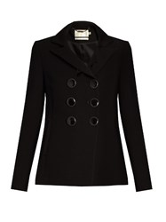 Goat Double Breasted Wool Crepe Blazer Black