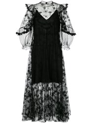 Chloe Embroidered Voile Peasant Dress Polyimide Black