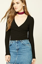 Forever 21 Ribbed Knit Surplice Top
