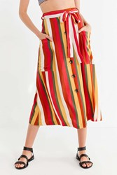 Urban Outfitters Uo Striped Belted Midi Skirt Multi