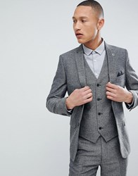 French Connection Slim Fit Grey Herringbone Suit Jacket