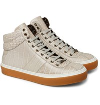 Jimmy Choo Belgravia Croc Effect Leather High Top Sneakers Gray