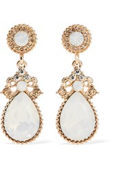 Kenneth Jay Lane Gold Tone Crystal And Stone Earrings Light Blue