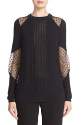 Prabal Gurung Women's Dot Illusion Inset Cotton And Cashmere Sweater