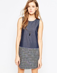 Helene Berman Denim And Tweed Shift Dress Grey