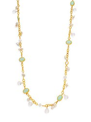 Azaara Romantic 10Mm 14Mm Freshwater Pearl Multi Stone And Crystal Necklace Gold