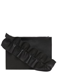 Msgm Leather Pouch W Ruffle Detail