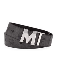 Mcm Claus Reversible Visetos Belt Gray