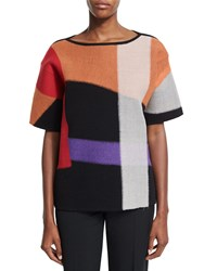 Bottega Veneta Short Sleeve Wool Kimono Sweater Orange Multi Orange Multicolor