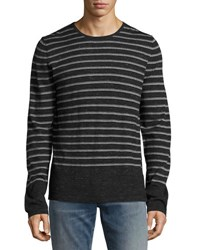 Vince Jasper Striped Long Sleeve Shirt Heather Black