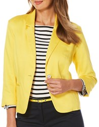 Rafaella Petite Weekend Getaway Textured Blazer Yellow