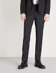 Armani Collezioni Tailored Fit Straight Wool Trousers Black